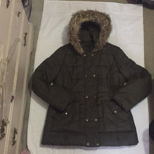 Krush Quilted Puffer Coat with Faux Fur Hood